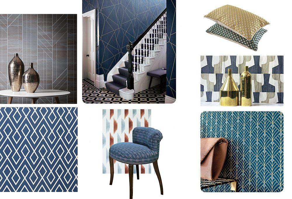 Trend 2019: geometrie vintage su tessuti e wallpaper