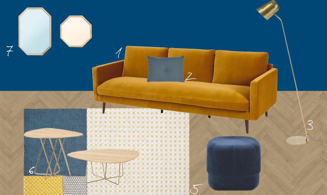 I colori e i materiali da abbinare al divano giallo senape ...