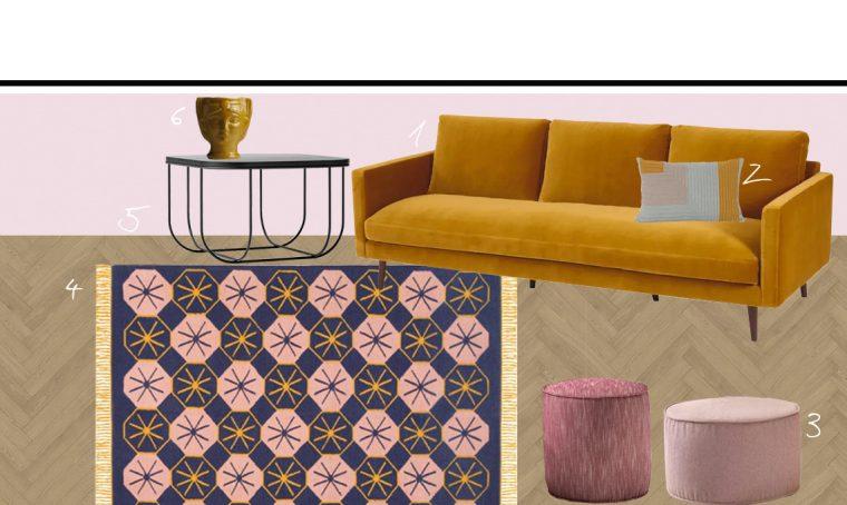 I colori e i materiali da abbinare al divano giallo senape