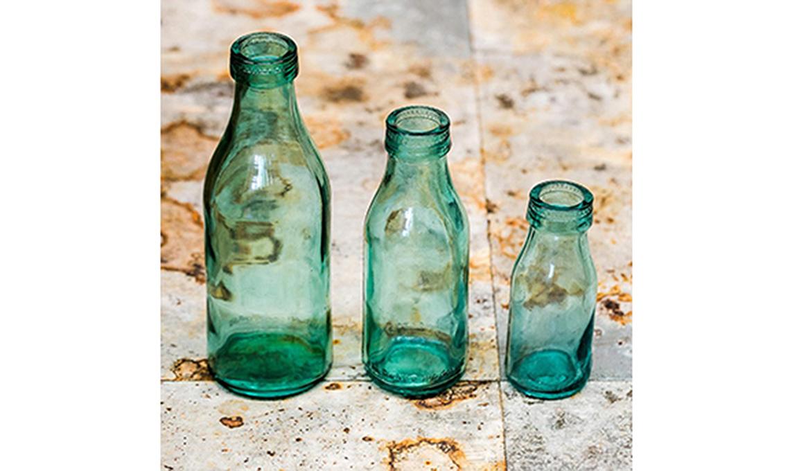 bottiglie di vetro verdi
