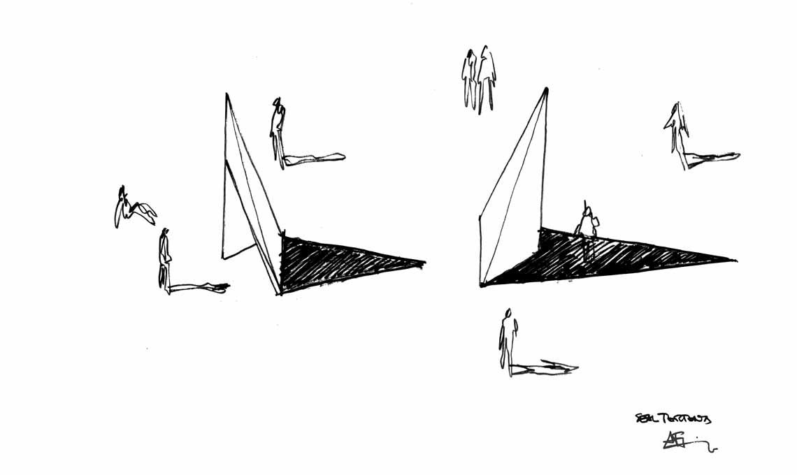 Un bozzetto di Alfonso Femia, architetto ospite di questa edizione, che ha firmato il progetto delle strutture degli infopoint