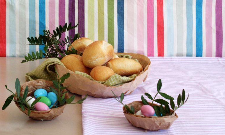 Nidi di carta fai da te per la tavola di Pasqua