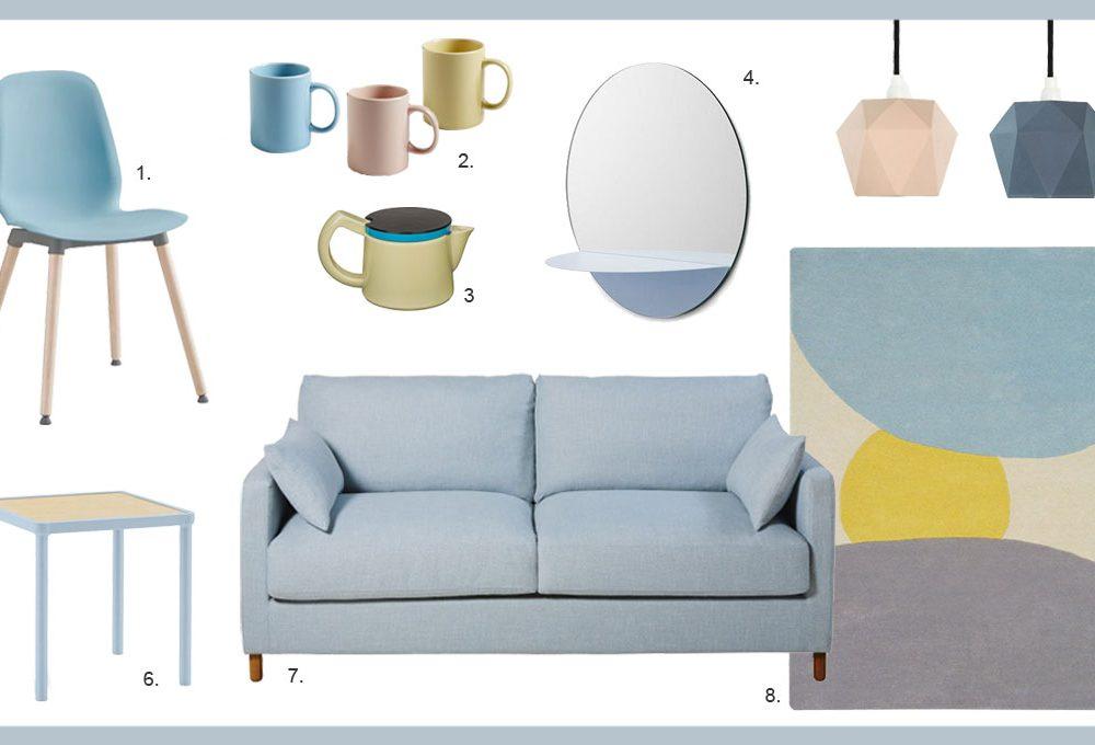Arredare il salotto con i colori pastello