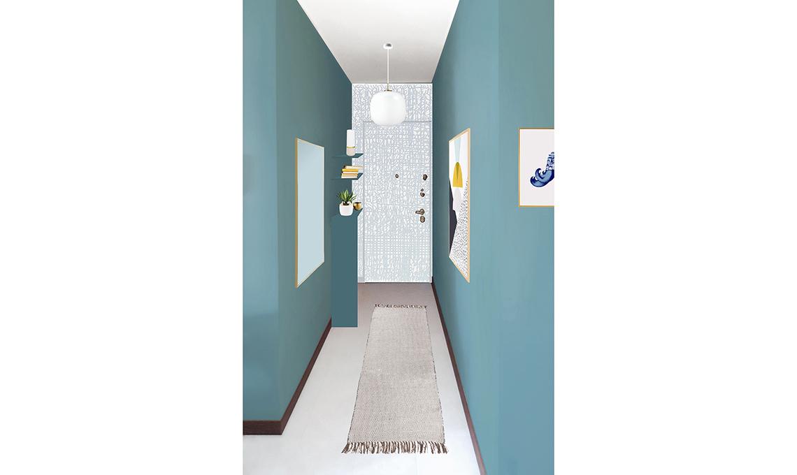 restyling corridoio color azzurro polvere