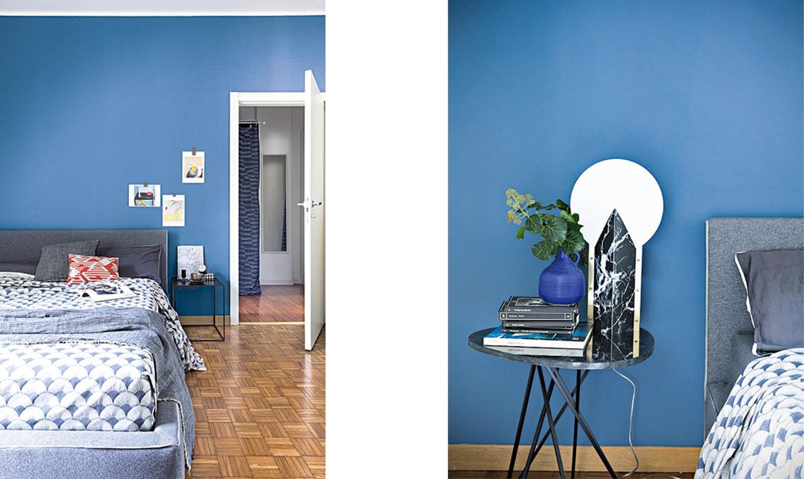 camera da letto parete blu