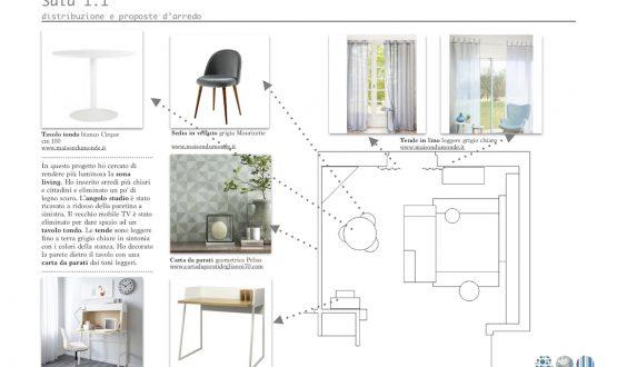 Relooking sala con angolo studio  – Casa di M.