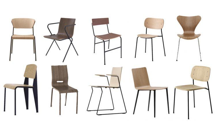 10 sedie in legno e metallo per la sala da pranzo