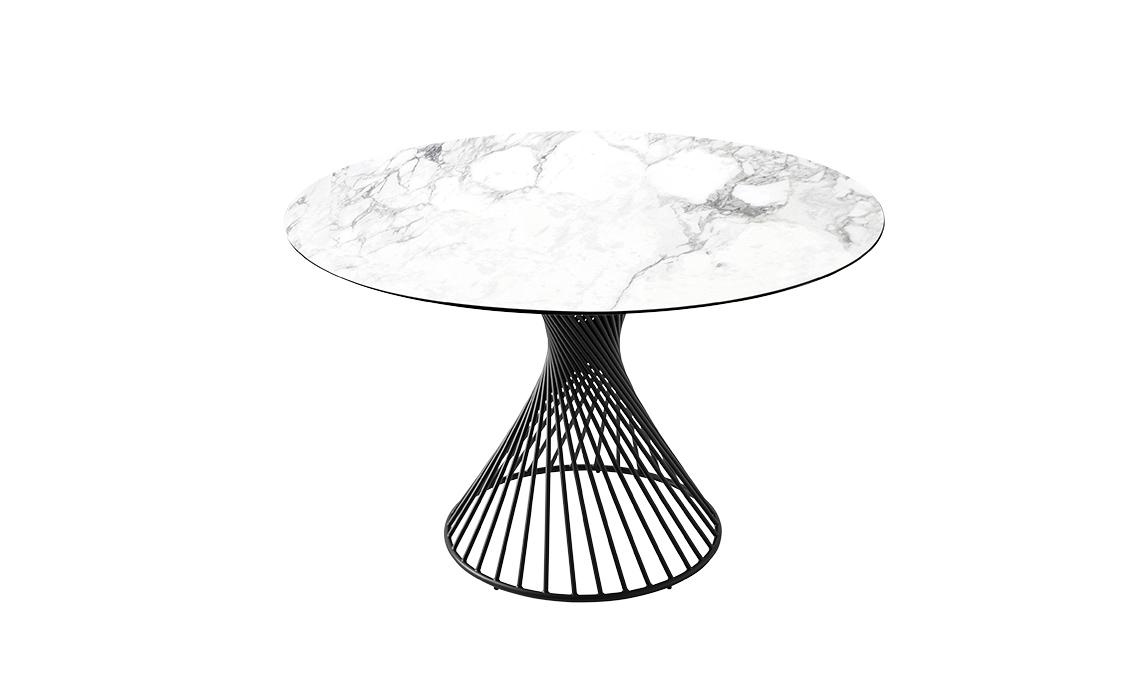 tavolo tondo con base conica