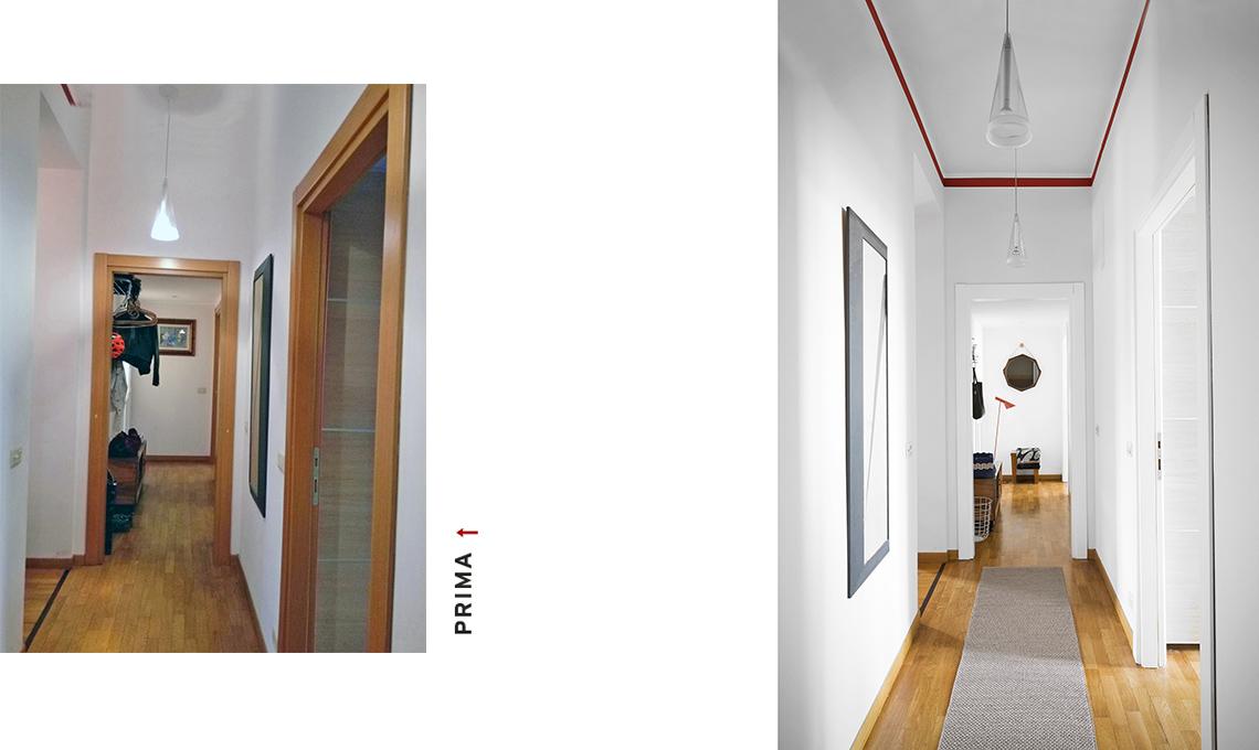 casa prima e dopo corridoio