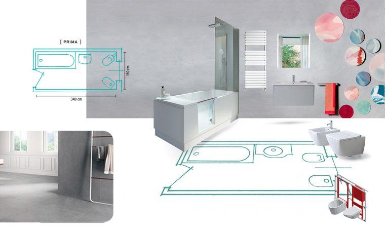 Relooking di un bagno di medie dimensioni