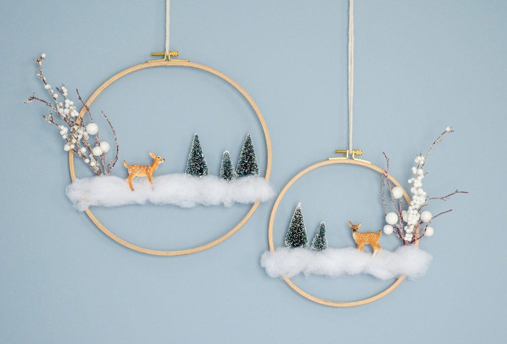 Crea la ghirlanda con il mini mondo invernale
