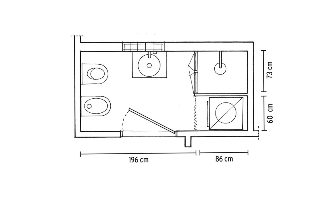 Bagno e lavanderia in meno di 4 mq