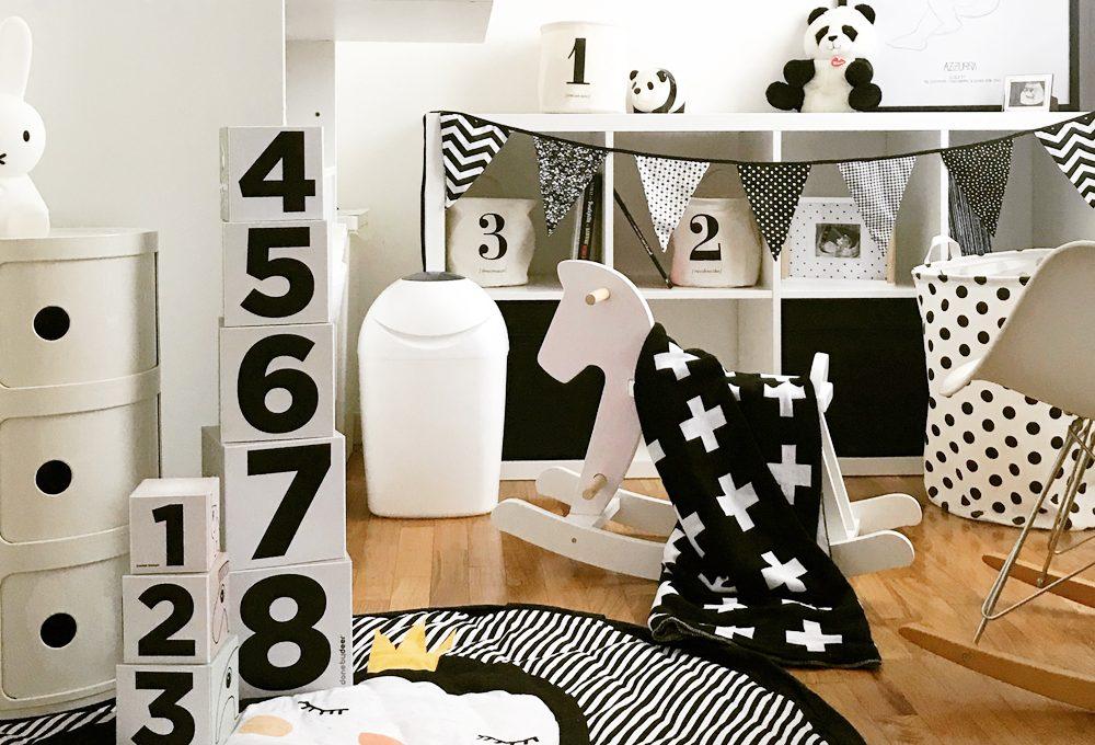 Cameretta nursery in bianco e nero