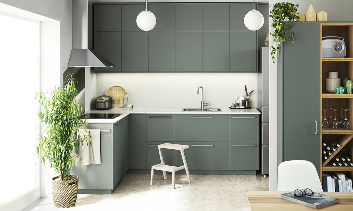 cucina verde acqua ikea