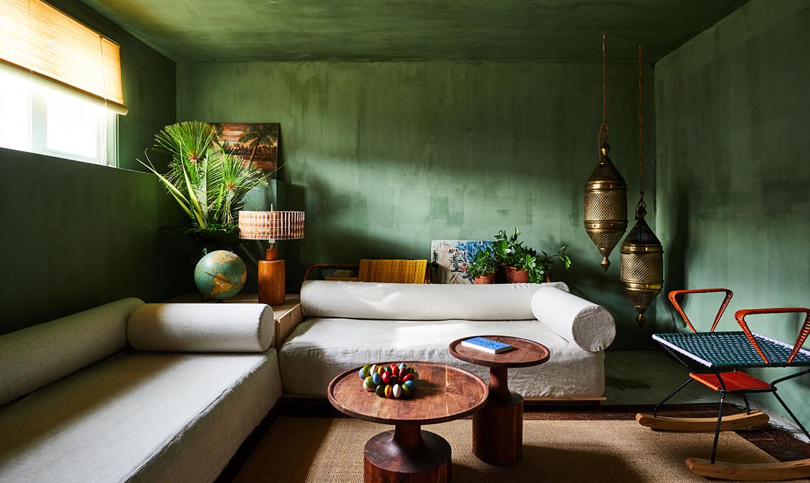 stanza pareti verde