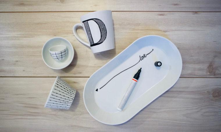 Ceramiche decorate con motivi black&white