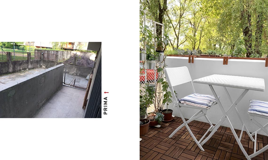 Prima e dopo: il restyling di un balcone stretto e lungo ...