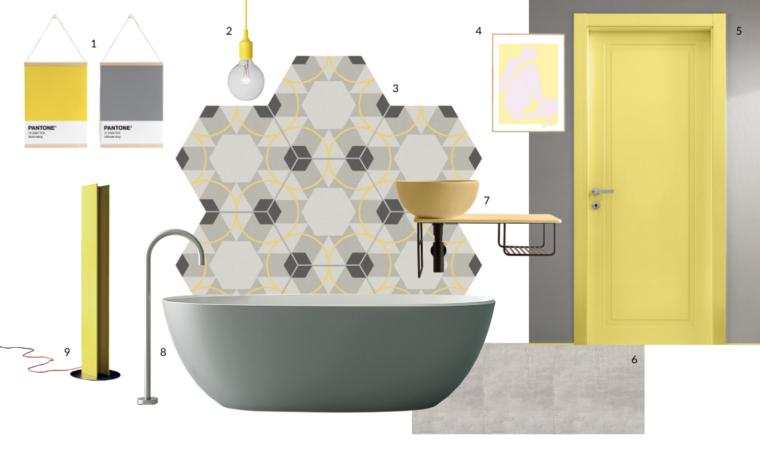 Il bagno si veste con le tonalità Pantone 2021