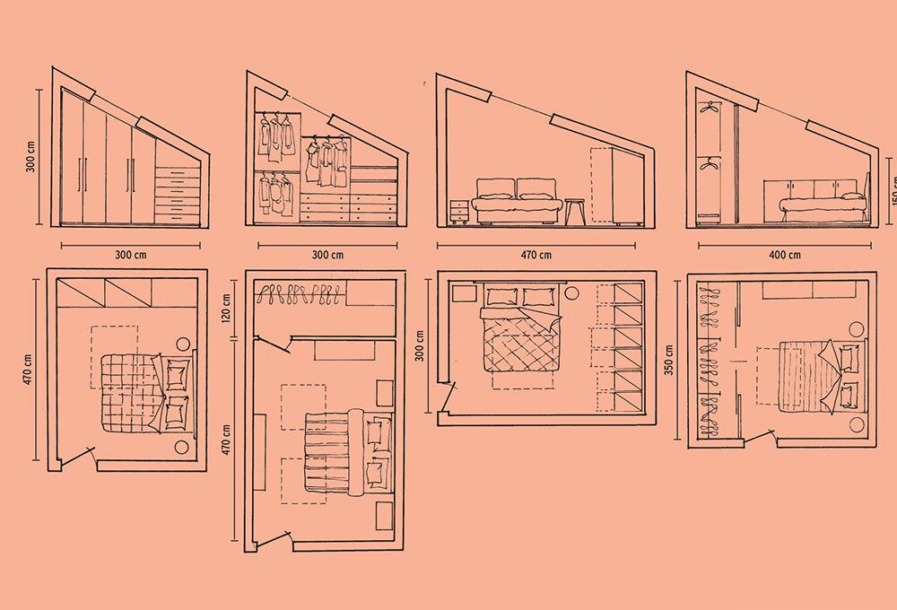 In mansarda: armadi e cabine progettate ad hoc