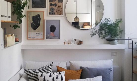 Mood scandinavo per la parete sul divano